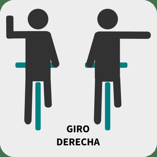 Giro a derecha: brazo izquierdo doblado hacia arriba y palma extendida o brazo derecho en horizontal y palma extendida hacia abajo.