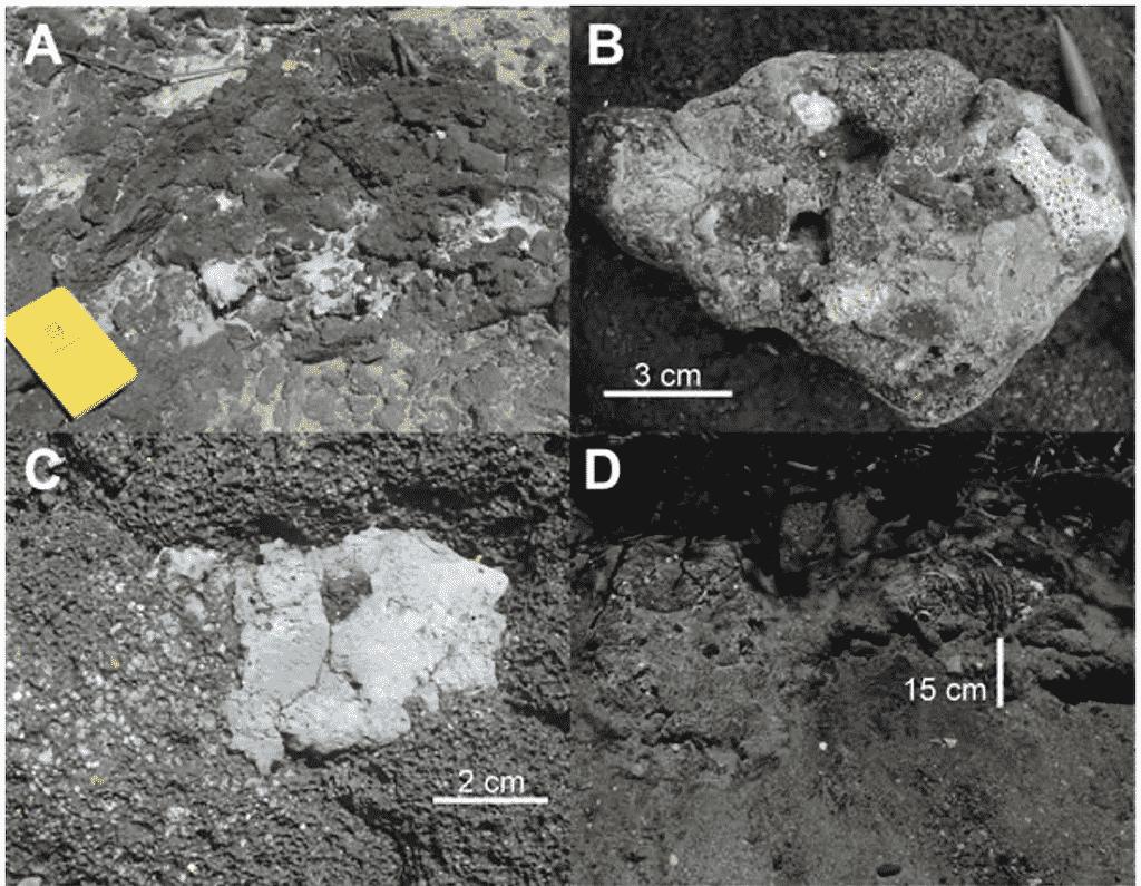 Fotografías de rocas formadas por plástico. Signos del antropoceno.